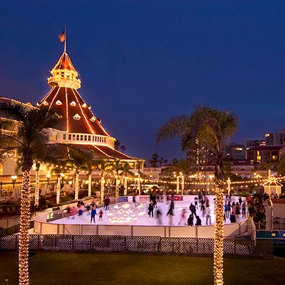icerinkatnight_410x410  via Hotel Del Coronado website Holidays at the Del