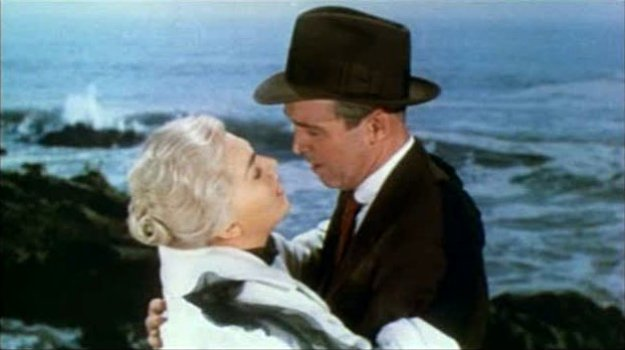 Vertigo_1958_trailer_embrace  Kim Novak and James Stewart in Vertigo