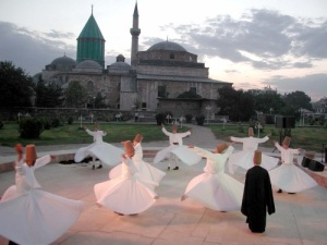 Mevlana_Konya whirling dervishes by Mladifilozof via wikipedia