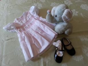 Baby dress, elephant, and Mary Jane shoes