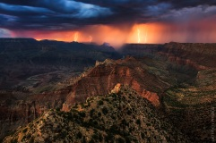Lighting strikes the Grand Canyon.